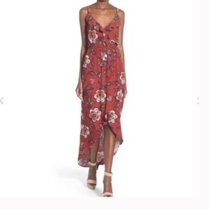 ASTR Ruffle Surplice High/Low Maxi Dress M